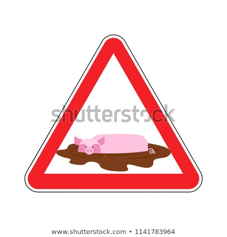 Attention unclean. warning Road sign pig in mud. Caution dirty.  Stock photo © popaukropa