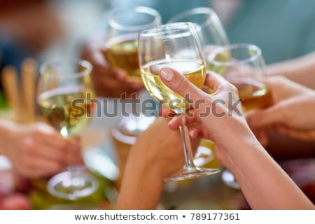 Młodych ludzi białe wino grupy domu strony Zdjęcia stock © boggy