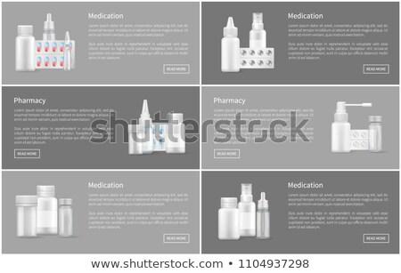 Gyógyszertár poszter spray konténer kapszula tabletták Stock fotó © robuart