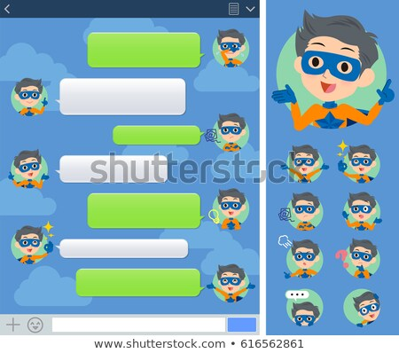 super hero man orange Blue sns window Stock photo © toyotoyo
