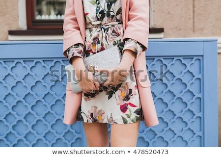mutlu · genç · kadın · kırmızı · elbise - stok fotoğraf © deandrobot
