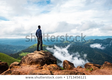 Standing on peak that mountain feeling Stock photo © lovleah