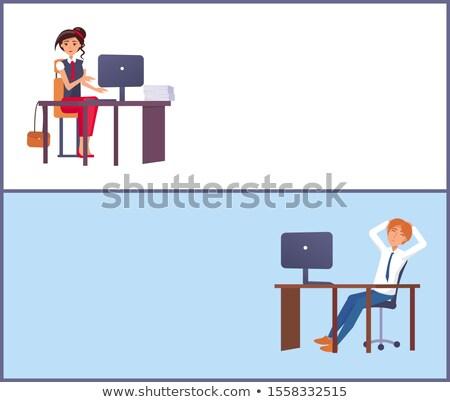 事務 ポスター 文字 サンプル 座る ストックフォト © robuart