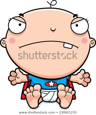 Cartoon superhero baby mad ilustracja patrząc Zdjęcia stock © cthoman