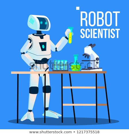 robot scientist laboratory chemist standing with flasks vector isolated illustration stock photo © pikepicture