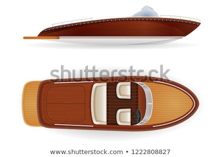 Motorcsónak klasszikus öreg retro fából készült izolált Stock fotó © konturvid