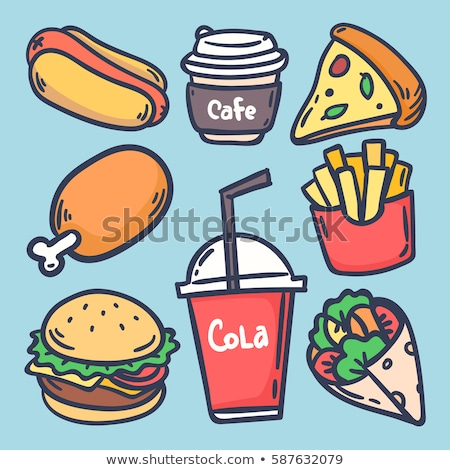 fast food set collection hot dog Burger Cola French fries drink Stock photo © rogistok