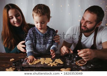 Stockfoto: Gelukkig · gezin · christmas · cookies · gelukkig · moeder