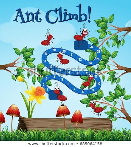Boardgame template with ants in garden Stock photo © colematt