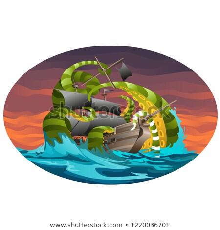 Oval poster with sea ship captured by octopus tentacles. Vector cartoon close-up illustration. Stock photo © Lady-Luck