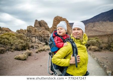 Szuper anya baba fiú kirándulás hátizsák Stock fotó © blasbike