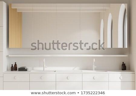 белый · бежевый · ванную · зеркало · мнение - Сток-фото © magraphics