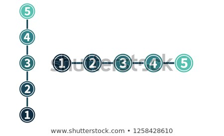 infographic in five steps, numbers in circles, raiting or evaluation concept vertical and horisontal Stock photo © kyryloff