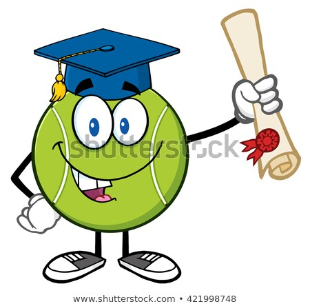 Сток-фото: Happy Tennis Ball Cartoon Mascot Character With Graduate Cap Holding A Diploma