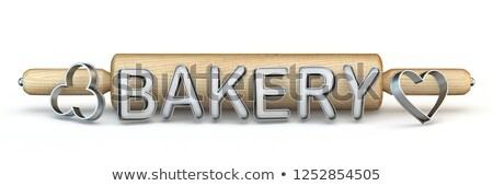 Bois rouleau à pâtisserie boulangerie texte cookie 3D Photo stock © djmilic