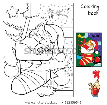 tarea · libro · para · colorear · blanco · negro · Cartoon · ilustración - foto stock © izakowski