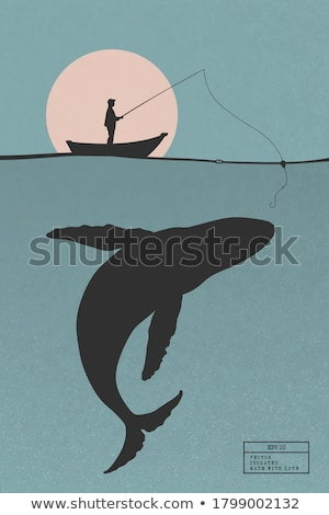 Stock photo: Fisherman with Fishing Rod Vector Illustration