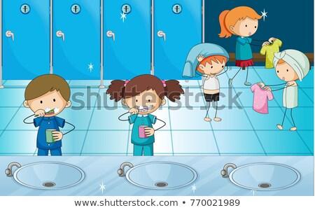 Gyerekek fogmosás ruha szekrényes öltöző illusztráció gyermek Stock fotó © colematt