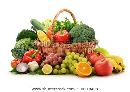 Kosár narancs gyümölcsök zöldségek illusztráció háttér Stock fotó © colematt