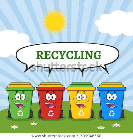 Four Color Recycle Bins Cartoon Character On A Sunny Hill With Speech Bubble And Text Recycling Stock photo © hittoon