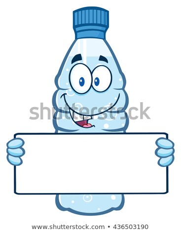 cartoon illustation of a water plastic bottle cartoon mascot character holding a blank sign stock photo © hittoon