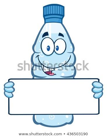 Foto stock: Cartoon Illustation Of A Water Plastic Bottle Cartoon Mascot Character Holding A Blank Sign
