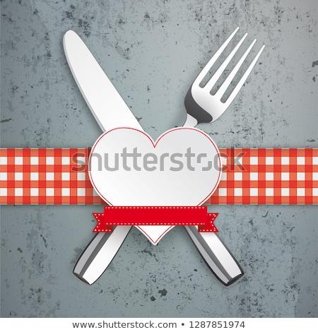 Concrete tavola panno cuore coltello forcella Foto d'archivio © limbi007