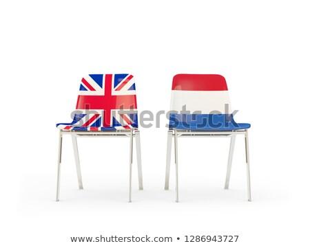 Twee stoelen vlaggen Nederland geïsoleerd witte Stockfoto © MikhailMishchenko