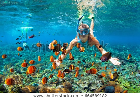 Girl in snorkeling mask dive underwater. Stock photo © NeonShot
