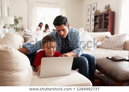 utilisant · un · ordinateur · portable · maison · enfants · heureux · enfant - photo stock © boggy