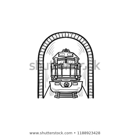 Railway tunnel with train hand drawn outline doodle icon. Stock photo © RAStudio