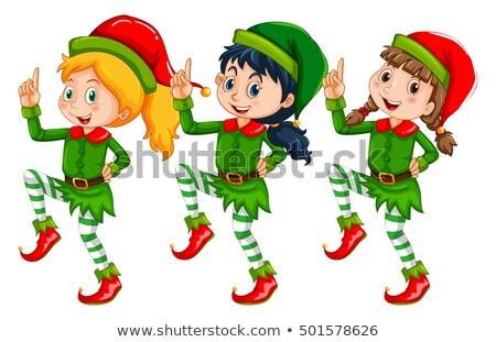 Karácsony gyerekek felfelé manó illusztráció háttér Stock fotó © colematt