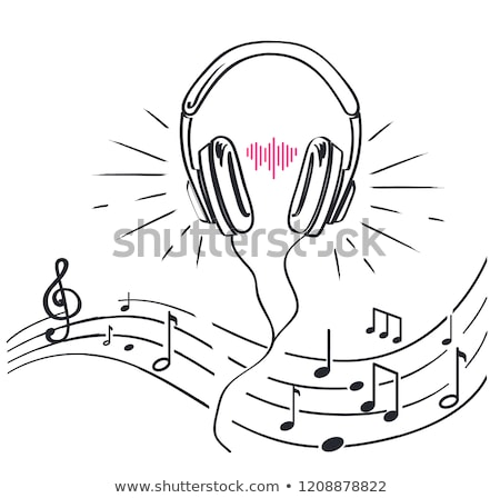 Headphones, Sheet Music Notes Monochrome Sketches Stock photo © robuart