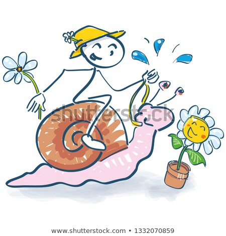 stick figure rides on a snail into the spring stock photo © ustofre9