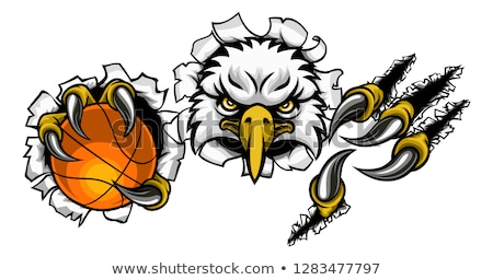 Foto stock: Eagle Basketball Cartoon Mascot Ripping Background