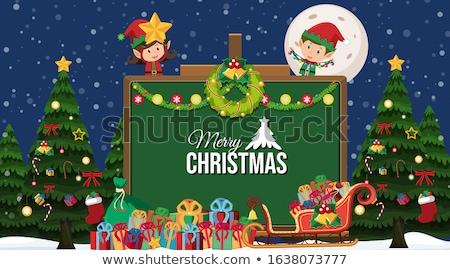 Christmas theme with elf and present box Stock photo © colematt