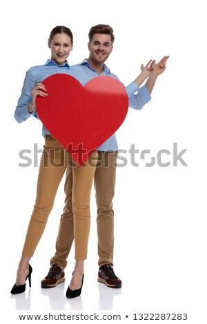 miłości · para · wskazując · palce · serca - zdjęcia stock © feedough