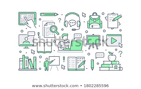 Video Tutorials for Student Studying Online Poster Stock photo © robuart