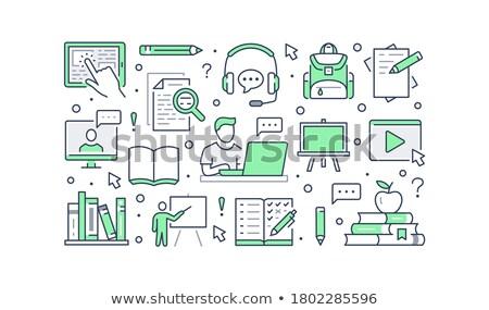 Vídeo estudante estudar on-line cartaz vetor Foto stock © robuart