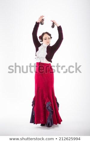 Fiatal nő tánc fekete nő virág rózsa Stock fotó © artjazz
