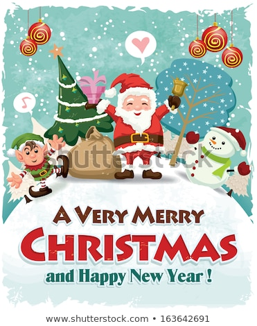 Christmas card template with elf smiling Stock photo © colematt