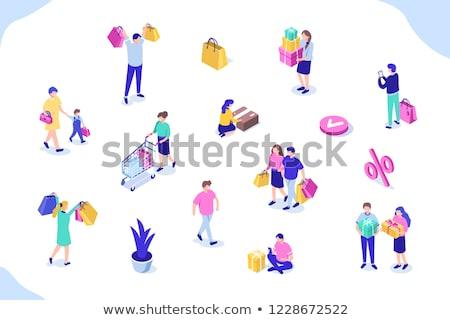 Female shopper with gift box in shopping cart isometric 3D illustration. Stock photo © RAStudio