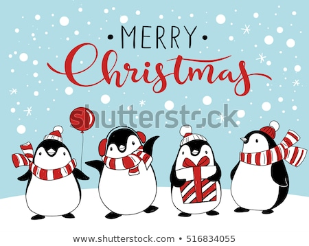 arctic penguins christmas holiday greeting cards stock photo © robuart