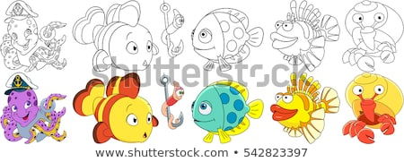 Stock photo: vector line cartoon animal clipart