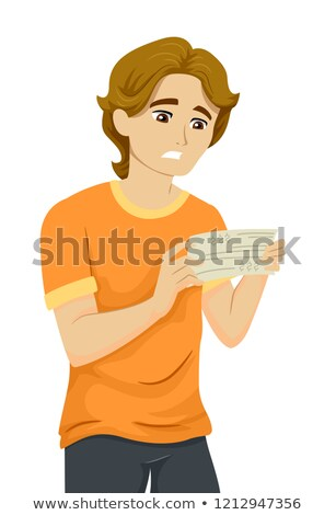 Teen Guy Paycheck Sad Illustration Stock photo © lenm