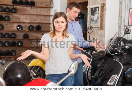 портрет счастливым верховая езда мотоцикле вместе Сток-фото © deandrobot