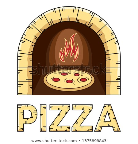 wood stove with pizza inside - logo design Stock photo © djdarkflower