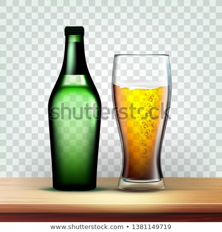 Realistic Bottle And Goblet With Foamy Beer Vector Stock fotó © pikepicture