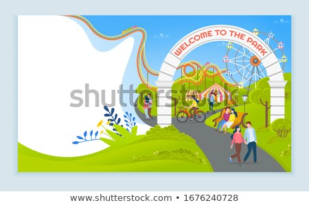 Stok fotoğraf: Welcome to Amusement Park Online Website with Text