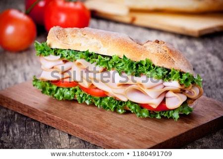 füstölt · hús · szendvics · friss · sajt · saláta - stock fotó © mpessaris